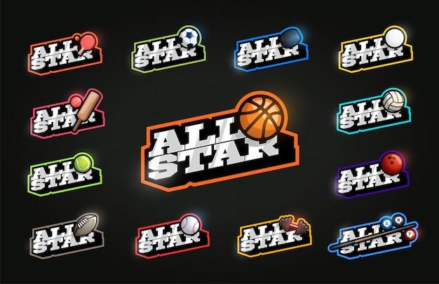 All star sport set. moderner professioneller typografiesportretrostil