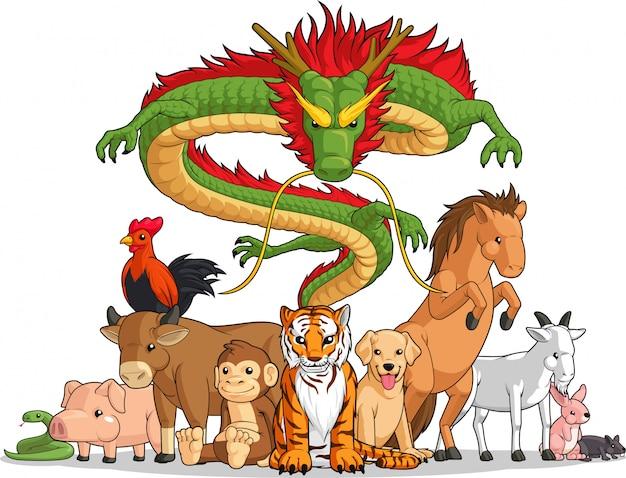 Alle 12 chinesischen tierkreistiere zusammen