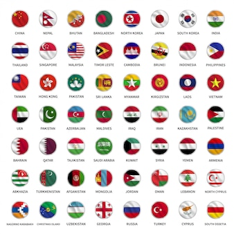 Alle asiatischen landflaggen kreisen im wellenstil