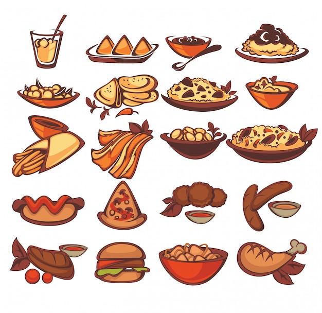 Alle internationale nahrungsmittelsammlung: spanischer indischer amerikaner