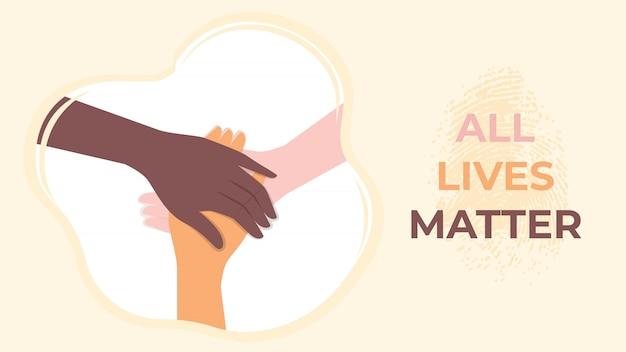 Alle leben sind wichtig für die gesellschaft gegen rassismus