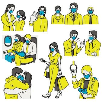 Alle menschen tragen masken