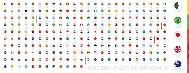 Alle nationalflaggen der welt alphabetisch nach kontinenten sortiert. blaue pin-icon-design. vektorflaggensammlung mit vorschau.