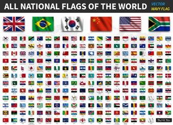 Alle Nationalflaggen der Welt. Realistische winkenden Stoff Textur