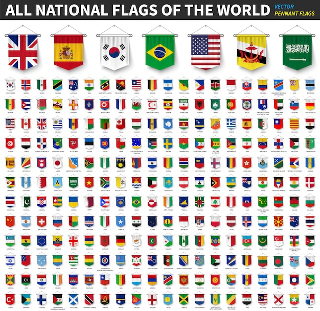 Alle nationalflaggen der welt. realistisches hängen des wimpels 3d