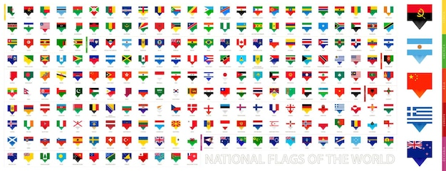 Alle nationalflaggen der welt, sammlung von pin-flaggen. vektor-flag-set.