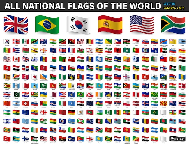 Alle nationalflaggen der welt. wehende flagge design Premium Vektoren