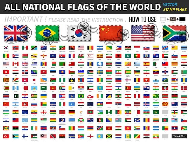 Alle offiziellen nationalflaggen der welt. altes stempelformdesign mit kratzer