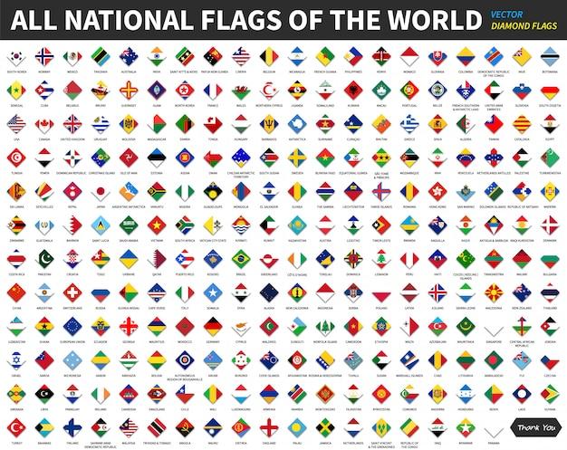Alle offiziellen nationalflaggen der welt. diamant- oder rhombenform-design