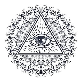 Alle sehen auge im dreieck und mandala.