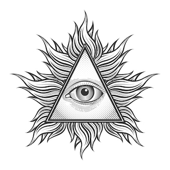 Alle sehen augenpyramide symbol im gravur tattoo stil. freimaurer und geistige, illuminaten und religion, dreiecksmagie,