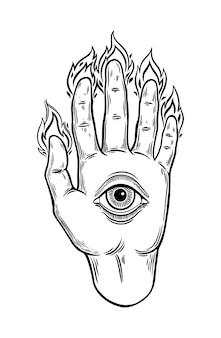 Alle sehende hand-auge-grafik-illustration