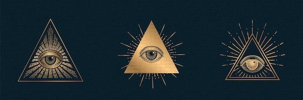 Alle sehenden augen illuminati symbolillustration