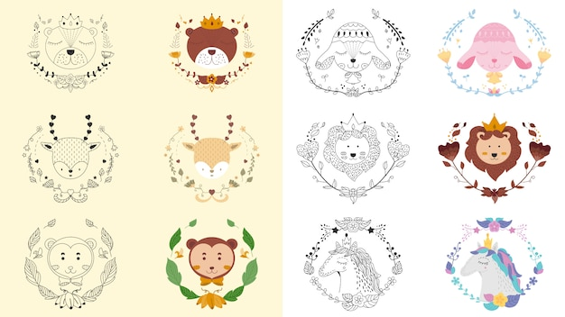 Alle tierischen und floralen niedlichen emblem banner