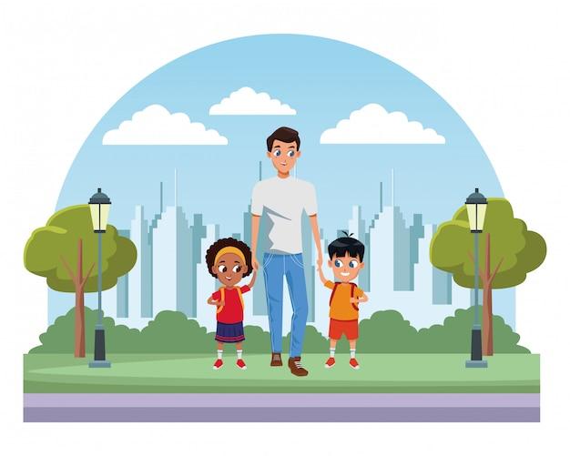 Alleinerziehender familienvater mit kindern
