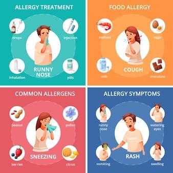 Allergie-konzept-ikonen eingestellt mit lebensmittelallergiesymbol-karikatur isoliert