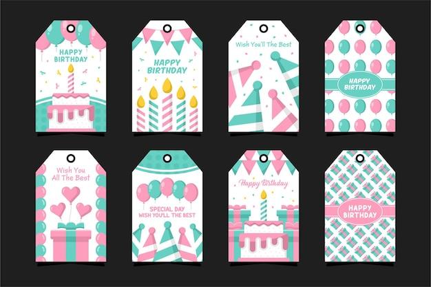 Alles gute zum geburtstag abzeichen-etiketten-design-kollektion