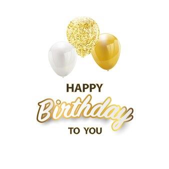 Alles gute zum geburtstag celebration party banner gold ballons.