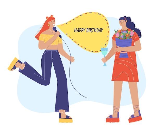 Alles gute zum geburtstag. eine frau singt ein lied für ihre freundin. illustration im cartoon-stil.