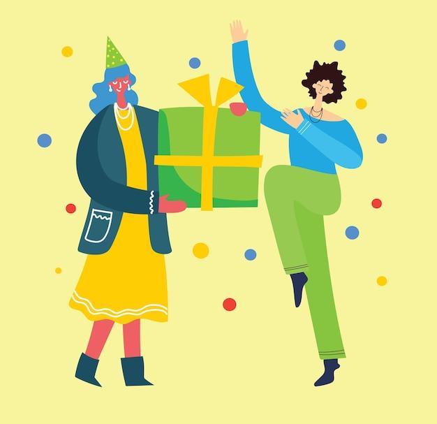 Alles gute zum geburtstag. glückliche gruppe von menschen feiern.