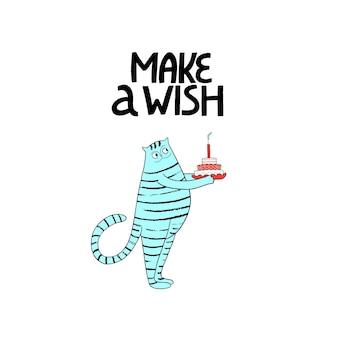 Alles gute zum geburtstag grußkarte mit süßer katze und kuchen handd schriftzug machen einen wunsch geburtstagsfeier