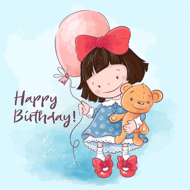 Alles gute zum geburtstag grußkarte. nettes karikaturmädchen der illustration mit einem ballon und einem spielzeug.