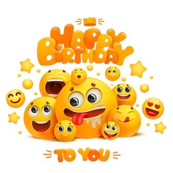 Alles gute zum geburtstag-grußkartenschablone mit gruppe von gelben emoji-karikaturlächeln.
