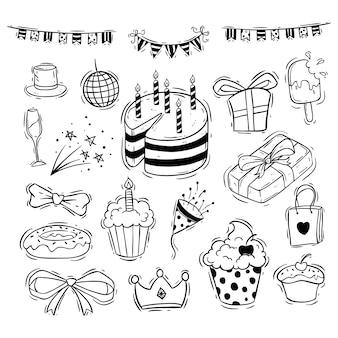 Alles gute zum geburtstag icons sammlung mit kuchen, geschenkbox und band