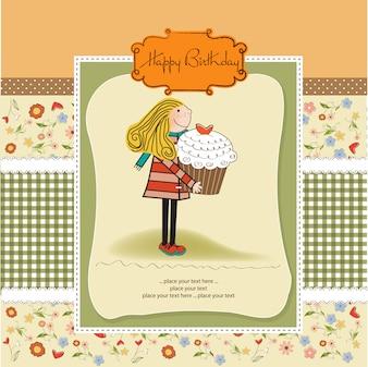 Alles Gute zum Geburtstag Karte mit Mädchen und Cup Kuchen
