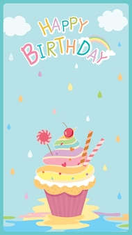 Alles gute zum geburtstag kartendesign mit regenbogen cupcake