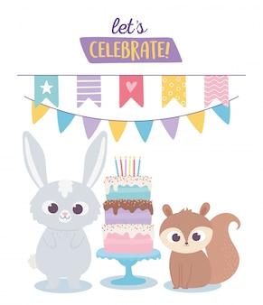 Alles gute zum geburtstag, niedliche kaninchen- und eichhörnchenfeierdekorationskarikatur