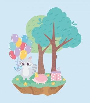 Alles gute zum geburtstag, niedliche waschbär-igel-geschenkbox und ballonfeier-dekorationskarikatur