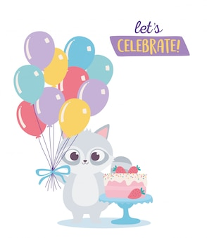 Alles gute zum geburtstag, niedlicher waschbär mit süßem kuchen und luftballonsfeierdekorationskarikatur
