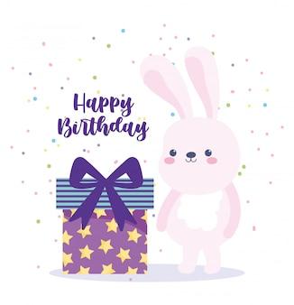 Alles gute zum geburtstag, niedliches kaninchen und geschenkbox-überraschungskarikatur-feierdekorationskarte