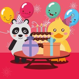 Alles gute zum geburtstag party karte niedlichen panda und ente tiere