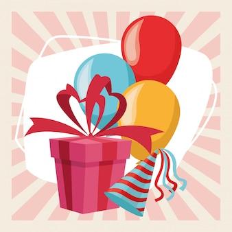 Alles- gute zum geburtstagfeier-parteigeschenkbox steigt hut im ballon auf