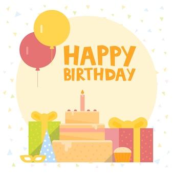 Alles- gute zum geburtstagkarten-design mit ballons, konfettis, kuchen und geschenkbox.