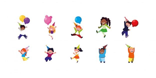Alles- gute zum geburtstagkinder eingestellt mit ballonen und hüten