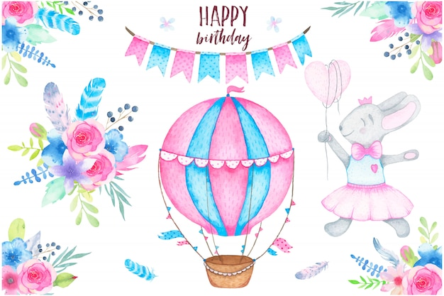 Alles- gute zum geburtstagparty des aquarells stellte mit häschenluftballongirlande und blumenblumenstraußfedern ein
