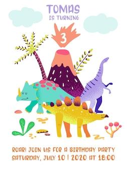Alles gute zum geburtstagskarte mit spaßdinosaurier, dino-ankunftsansage, grüße in vektorillustration