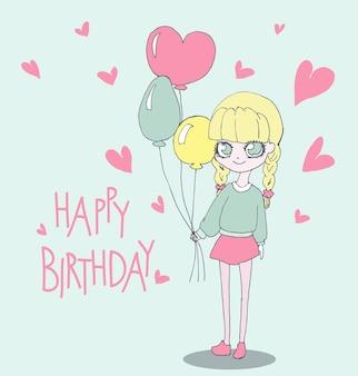 Alles gute zum geburtstagskarte mit süßem mädchen. vektor-illustration eines mädchens mit geburtstagsballons