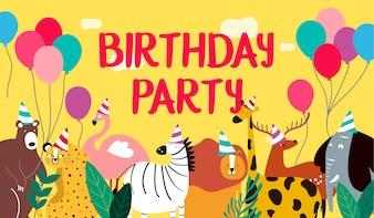 Alles Gute zum Geburtstagskartenvektor des Tierthemas