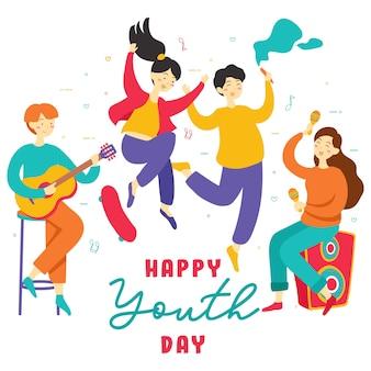Alles gute zum internationalen jugendtag. jugendlich leutegruppe verschiedene junge mädchen und jungen, die zusammen hände halten, spielen musik, rochenbrett, partei, freundschaft