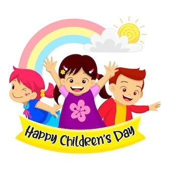 Alles gute zum kindertag. die drei kinder lächelten glücklich. mit dem regenbogen als backgrund