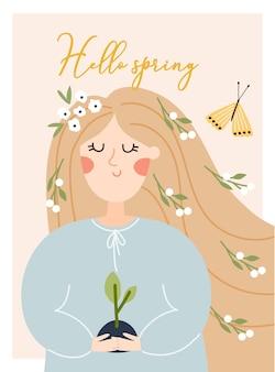 Alles gute zum tag der erde. hallo springvector eco illustration für soziales poster, banner oder karte zum thema rettung des planeten. mach jeden tag der erde