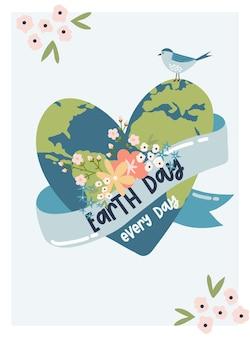 Alles gute zum tag der erde. speichern sie den planeten vektor-öko-illustration für soziale poster, banner oder karten zum thema rettung des planeten. mach jeden tag der erde