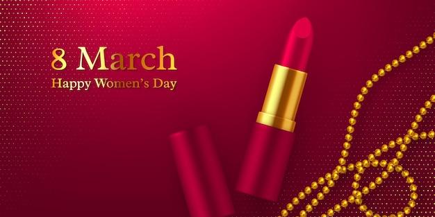 Alles gute zum tag der frauen. 3d realistischer lippenstift mit glitzernden goldenen perlen.