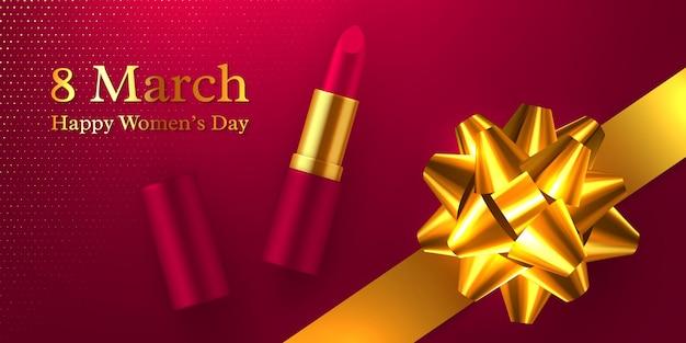 Alles gute zum tag der frauen. realistischer lippenstift 3d mit glitzernder goldener schleife.