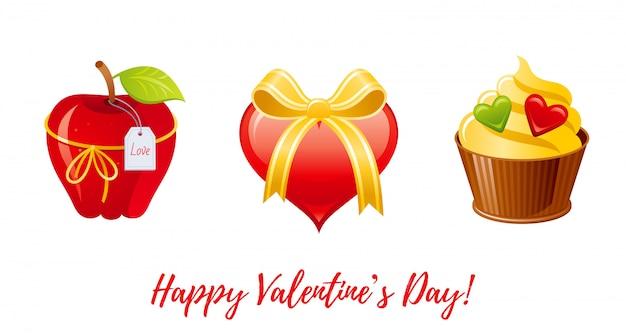 Alles gute zum valentinstag banner. cartoon niedlichen apfel, herz, cupcake.