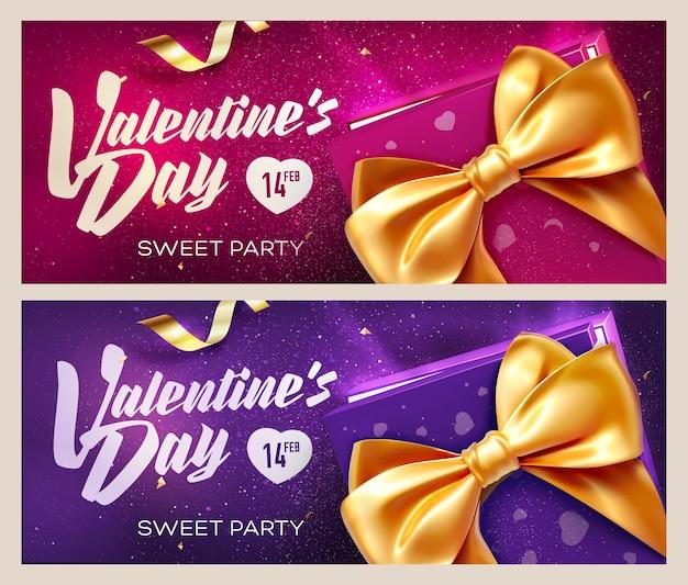 Alles gute zum valentinstag banner. draufsicht auf geschenkbox und bogen